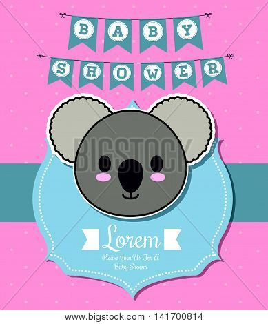 Baby Shower invitation design represented by kawaii koala cartoon. Pastel color illustration.Pointed background.