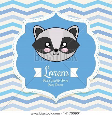 Baby Shower invitation design represented by kawaii raccoon cartoon. Pastel color illustration.