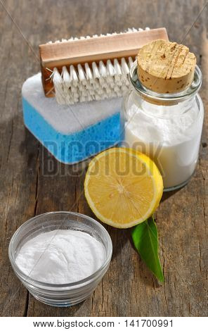 Baking soda lemon sponge for house cleaning