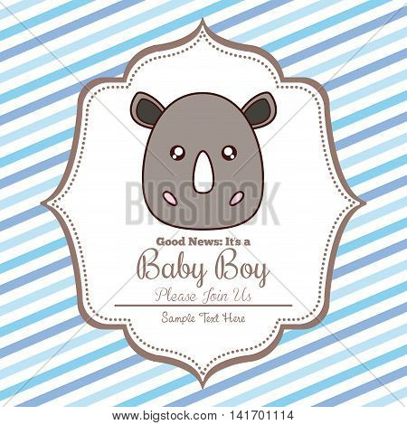 Baby Shower invitation design represented by kawaii rhino cartoon. Pastel color illustration. Striped background.