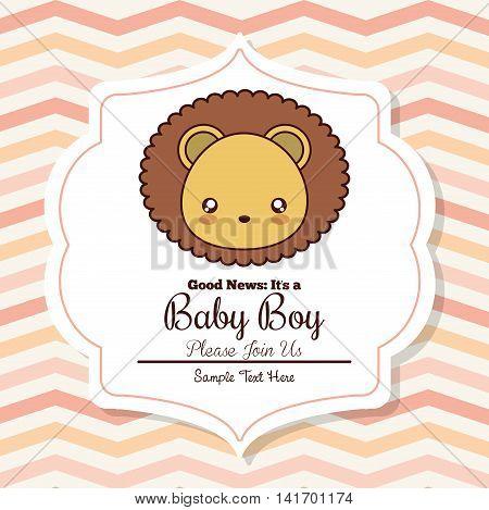 Baby Shower invitation design represented by kawaii lion cartoon. Pastel color illustration.