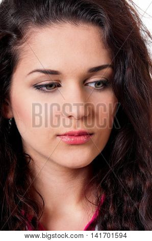 Perfect girl face. Portrait close up of young adorable brunette girl on white background.