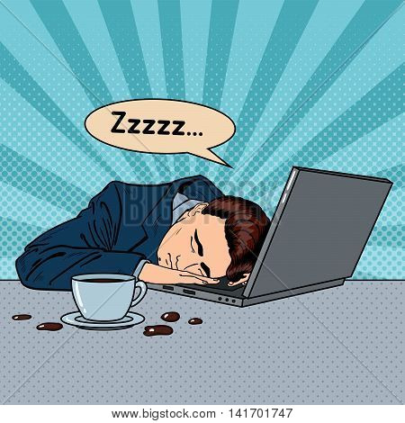 Tired Businessman Sleeping on a Laptop in Office. Pop Art Vector illustration