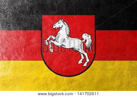 Flag Of Lower Saxony, Germany, Painted On Leather Texture