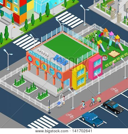 Isometric Kindergarten with Playground and Children. Vector illustration