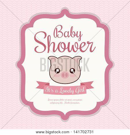 Baby Shower invitation design represented by kawaii pig cartoon. Pastel color illustration.