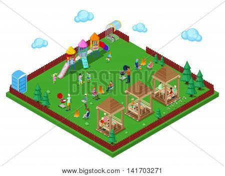 Family Grill BBQ Area in the park with Children Playground and Active People Cooking Meat. Isometric City. Vector illustration