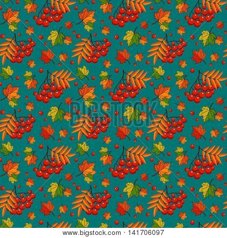 Autumn background with rowan berries and maple leaves. Vector seamless pattern.