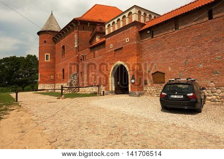 Poland-Tykocin,July 2016:View of the courtyard and the main gate of the castle near the Tykocin Podlasie ,July 2016. Editorial. Horizontal view.