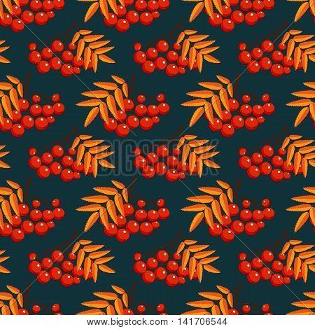 Autumn seamless pattern with rowan berries. Nature background. Vector illustration.
