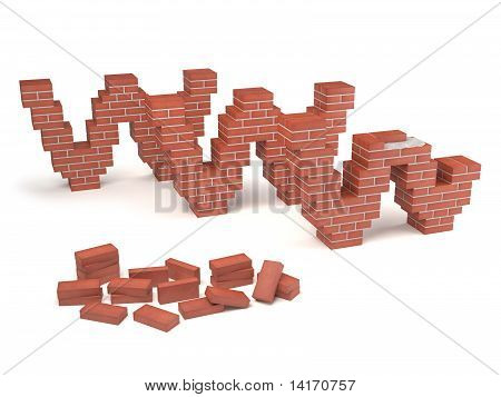web site under construction with bricks