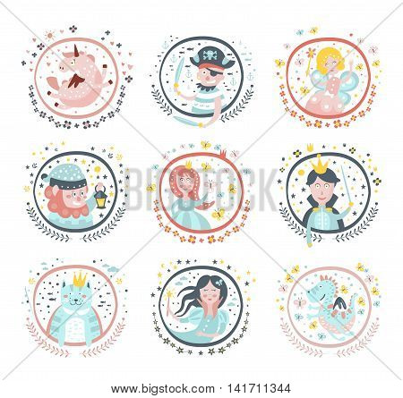 Fairy Tale Characters Girly Stickers In Round Frames In Childish Simple Design Isolated On White Background