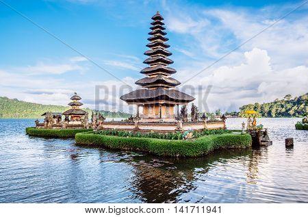Pura Ulun Danu Bratan, Hindu temple on Bratan lake is a major Shivaite and water temple in Bali, Indonesia
