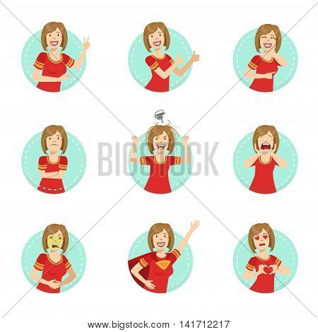 Emotion Body Language Illustration Set With Woman Demonstrating. Set Of Emotional Facial Expressions With Person In Red T-shirt In Blue Round Frame.