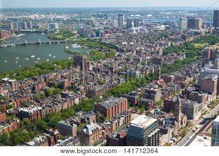 Aerial view of downtown Boston Prudential Tower MA USA