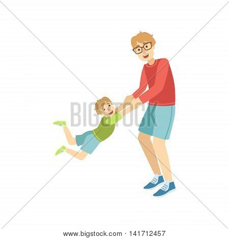 Dad Giving A Spin To His Son Simple Childish Flat Colorful Illustration On White Background