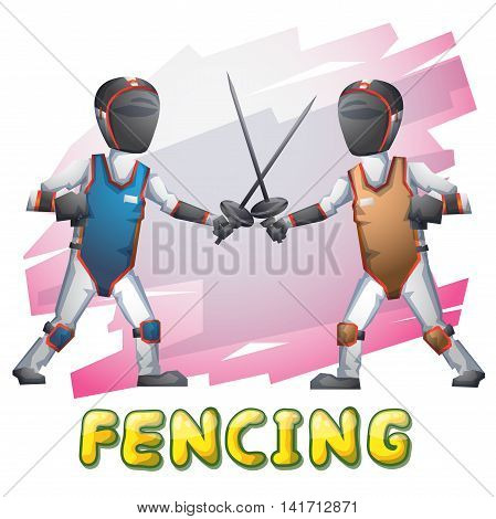 Cartoon Vector Fencing Sport With Separated Layers