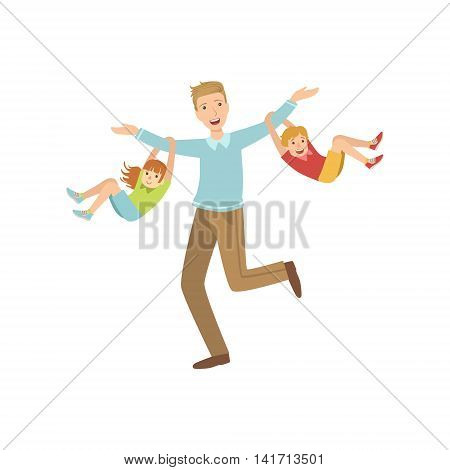 Dad And Two Kids Hanging On His Arms Simple Childish Flat Colorful Illustration On White Background
