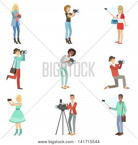 People Taking Pictures With Photo And Video Cameras Set Of Illustrations. Colorful Simplified Character Collection Of Flat Vector Drawings Isolated On White Background.