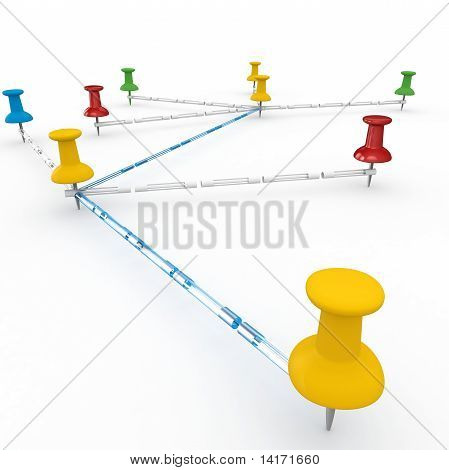 3D Push Pins Interconnected Concept   Network