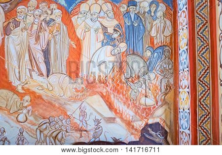 BUDVA MONTENEGRO - JULY 16 2014: The fresco depicting the Judgment Day icon in Assumption Church of Podmaine Monastery on July 16 in Budva.