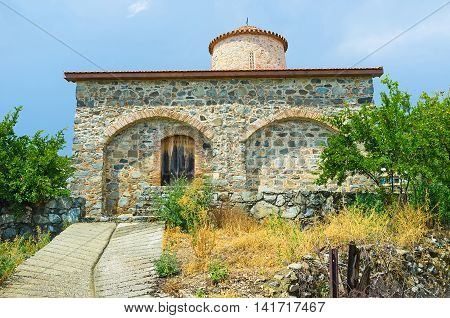 The church of Timios Stavros is situated in a central area of the Troodos mountain range at the south end of the village of Pelendri Cyprus.