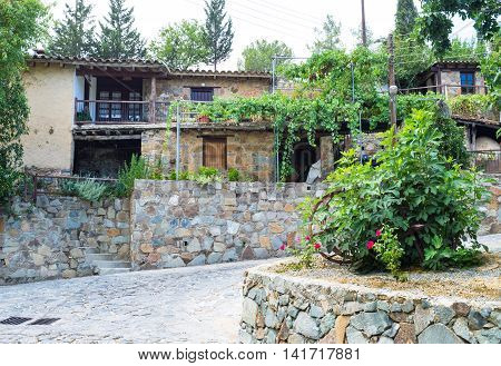 The housing of Fikardou village the traditional settlement in Troodos mountains Nicosia District Cyprus.