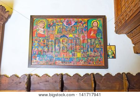 FIKARDOU CYPRUS - AUGUST 6 2014: The old icon on the wall of the Church of Apostles Peter and Paul on August 6 in Fikardou.