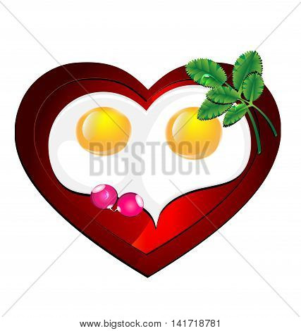 white background and heart-shaped omelette, decorated with fresh greens and radishes