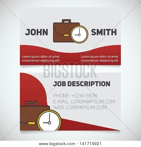 Business card print template with briefcase logo. Work management. Businessman. Office manager. Worktime clock symbol. Stationery design concept. Vector illustration