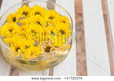 Head Yellow Chrysanthemum Floating In Water On A White Background Wooden