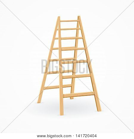 Wooden Ladder. Concept Steps of Growth. Vector illustration
