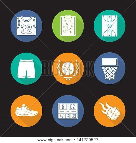 Basketball flat design long shadow icons set. Shirt, shorts and shoe, game plan, field, hoop, burning ball, scoreboard. Basketball equipment. Vector silhouette symbols