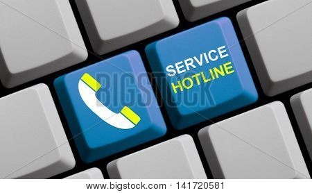 Computer Keyboard with symbol is showing Service Hotline