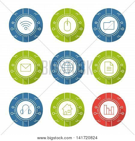 Cyber technology flat design long shadow icons set. Cloud computing. Wifi, access, digital storage, email security, worldwide network, web document, digital music, smart house. Vector symbols