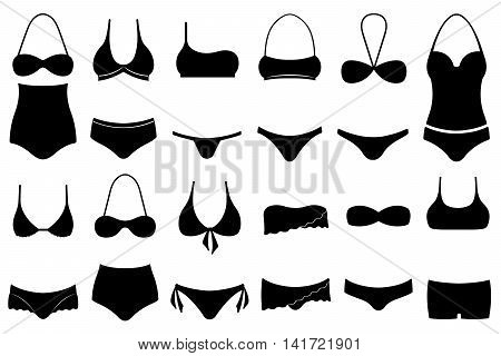 Set of different swimsuits isolated on white