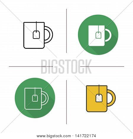 Tea mug icon. Flat design, linear and color styles. Yellow cup with teabag label. Isolated vector illustrations