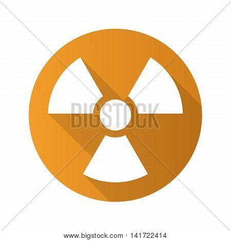 Radiation sign flat design long shadow icon. Radioactive danger symbol. Nuclear energy. Vector silhouette symbol