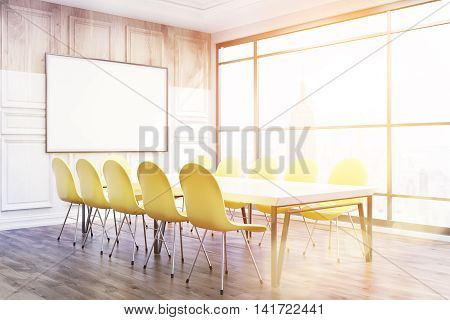Corner of conference room in New York office. Bright sun is shining through big window. Whiteboard on wooden wall. Chairs and table on floor. Concept of business meeting. 3D rendering. Toned image. Mock up.