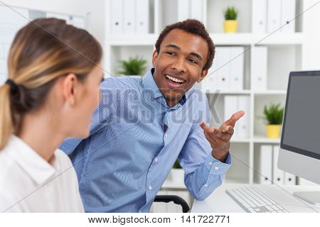 Young Man And Woman Talking