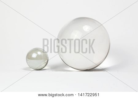 Crystal Ball Marbles glass transparent on white background