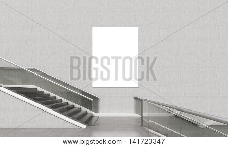 Vertical Poster Above Staircase
