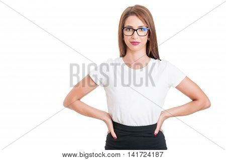 Beautiful Young Woman With Spectacles Looking Confident