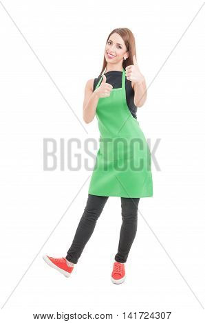 Pretty Smiling Saleswoman Showing Double Like Gesture