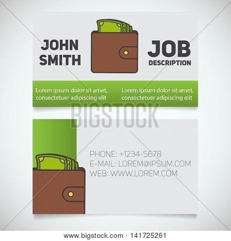 Business card print template with wallet and cash logo. Easy edit. Businessman. Purse with money. Stationery design concept. Vector illustration