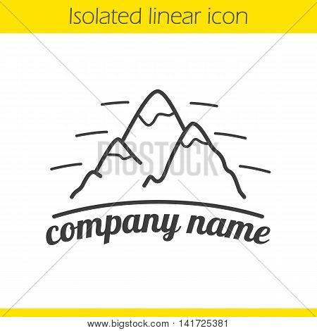 Mountains linear logo. Thin line illustration. Hiking, mountaineering and alpinism company emblem. Contour icon. Vector isolated outline drawing