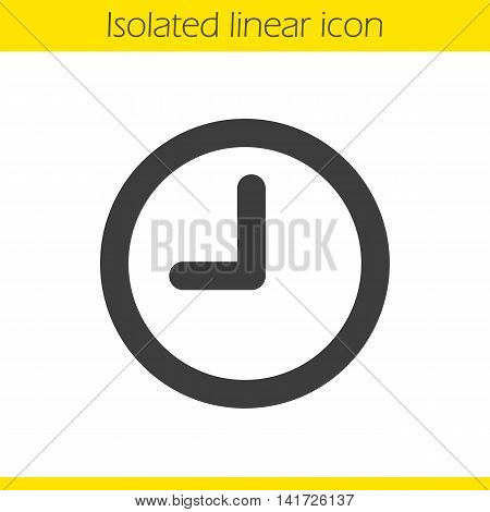Clock linear icon. Time thin line illustration. Wall clock contour symbol. Vector isolated outline drawing