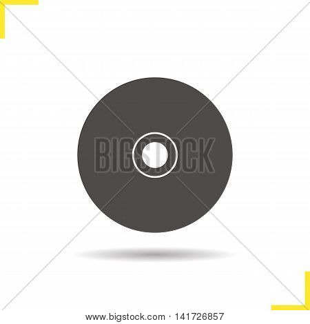 Cd icon. Drop shadow silhouette symbol. Compact disc. Negative space. Vector isolated illustration