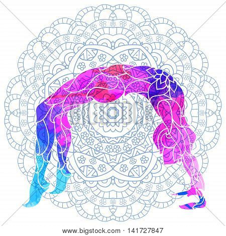 yoga pose over ornate round mandala pattern. Yoga concept. Decorative design for cover, t-shirt, hippie poster, flyer.