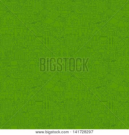 Green Line Camping Seamless Pattern. Vector Illustration of Outline Tile Background. Summer Camp.